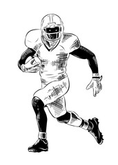 Vector engraved style illustration for posters, decoration and print. Hand drawn sketch of american football player in black isolated on white background. Detailed vintage etching style drawing.