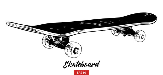 Vector engraved style illustration for posters, decoration and print. Hand drawn sketch of skateboard in black isolated on white background. Detailed vintage etching style drawing.