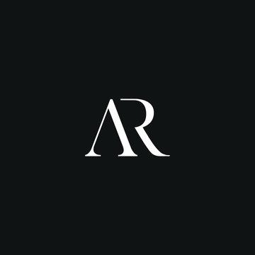 Creative modern elegant AR black and white color initial based letter icon logo.