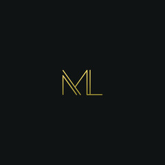 Creative modern elegant ML black and gold color initial based letter icon logo.