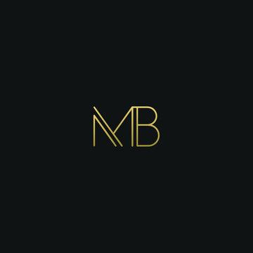 Creative modern elegant MB black and gold color initial based letter icon logo.