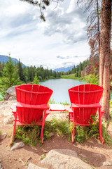 Red Chairs at Valley of the Five Lakes in Jasper National Park