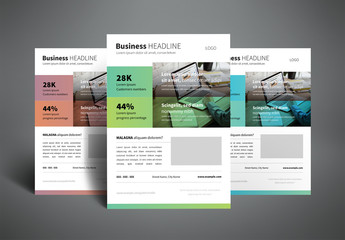 Business Flyer Layout with Two-Tone Color Bars