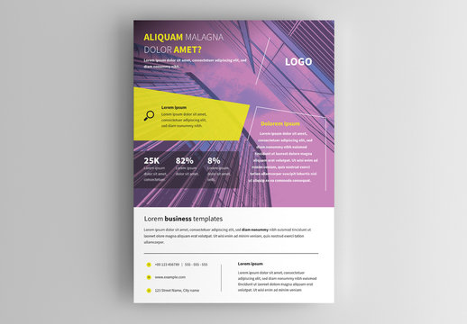 Business Flyer Layout with Purple Photo Overlay