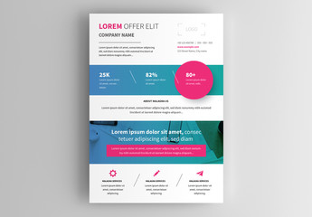 Business Flyer Layout with Magenta Accents