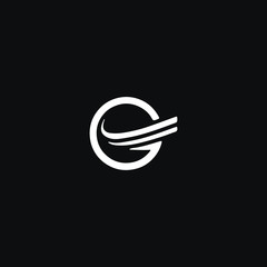 Unique modern trendy G black and white color initial based icon logo.