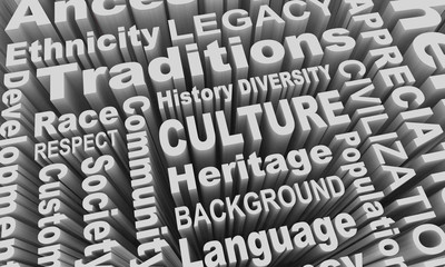 Culture Heritage Ethnic Race Groups Diversity Word Collage 3d Illustration