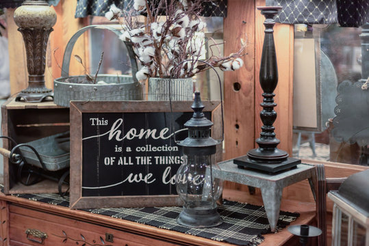 Tabletop display of rustic decorative items for the home