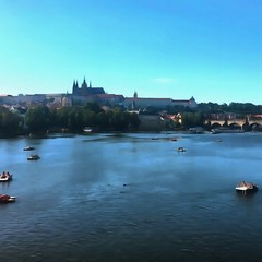Oil painting. Art print for wall decor. Acrylic artwork. Big size poster. Watercolor drawing. Modern style fine art. Historical part of Prague. Czech Republic. Charles Bridge. Karlovy Vary.