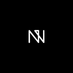Creative unique modern NW black and white color initial based icon logo.