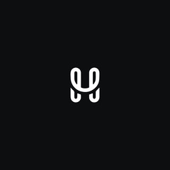 Creative unique modern HH or H black and white color initial based icon logo.