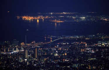 Night view of Kobe and Osaka Bay from lookout point on top of Mt. Rokko
