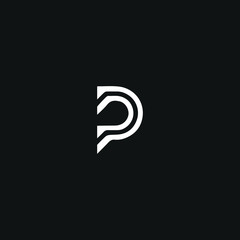 Modern unique minimal style PP initial based letter icon logo.