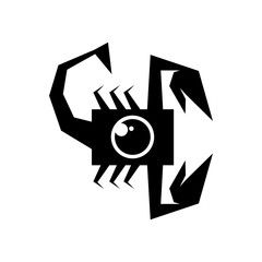 Scorpion with camera logo icon vector