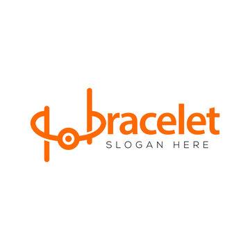 bracelet text logo vector template
