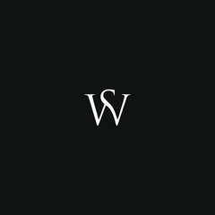 Unique minimal style white and black color SW initial based logo