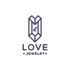 Love Jewelry diamond logo line vector icon