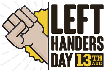 Fist High Up Commemorating Left Handers Day Celebration, Vector Illustration