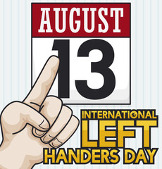 Left Hand Pointing at Calendar to Celebrate Left Handers Day, Vector Illustration