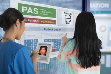 Wall Mural - Medical and health technology of patient registration system.