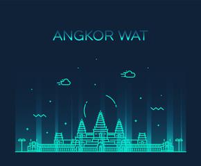 Fototapete - Angkor Wat skyline Cambodia vector linear style