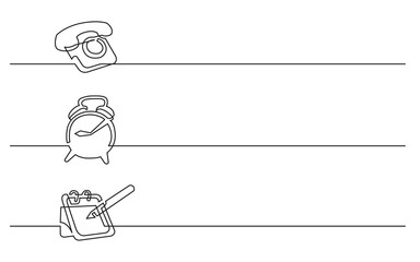 banner design - continuous line drawing of business icons: telephone, alarm clock, calendar