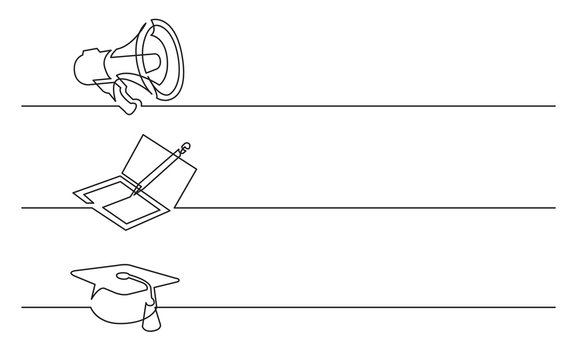 banner design - continuous line drawing of business icons: megaphone; notebook; graduation cap
