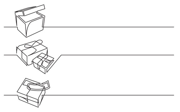 banner design - continuous line drawing of business icons: box, packages, mail delivery