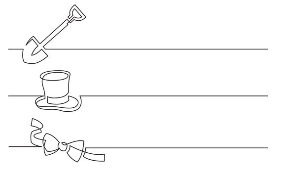 banner design - continuous line drawing of business icons: shovel, top hat, bow tie