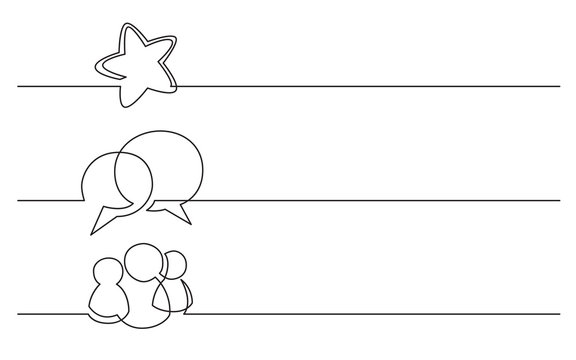 banner design - continuous line drawing of business icons: star, speech bubble, persons