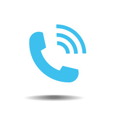 Blue phone icon symbol in trendy flat style isolated on white background. Telephone logo and vector illustration, EPS10.