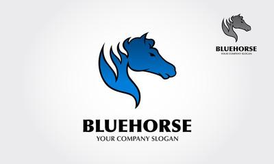 Blue Horse vector logo template. Strong Horse Running Fast Logo Illustration
