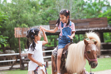 Cute asian child girl riding a pony and making hi five gesture with her elder sister in the farm...