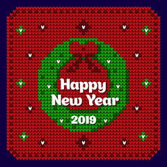 Christmas card in the style of a knitted cardigan. Decorative wreath. Vector illustration
