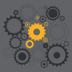 Black and gold gears on the gray background.