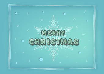 Merry Christmas inscription. Handwritten lettering with decoration. Vector illustration.