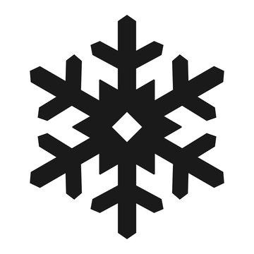Simple, flat, black silhouette snowflake icon. Isolated on white