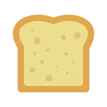 Simple, flat slice of bread icon. Isolated on white