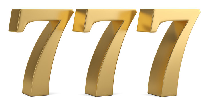 Lucky number seven isolated on white background 3D illustration.