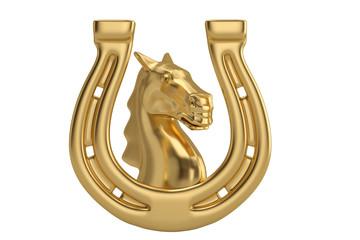 Golden horse head in golden horseshoe isolated on white background 3D illustration.
