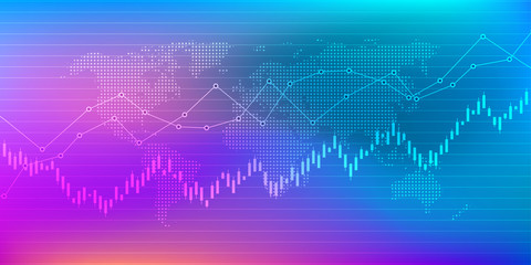Stock market or forex trading graph in futuristic concept suitable for financial or Economic business idea and all art work design for Abstract finance background