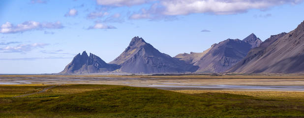 View to the famous Vestrahorn and Stokksnes from the east side.