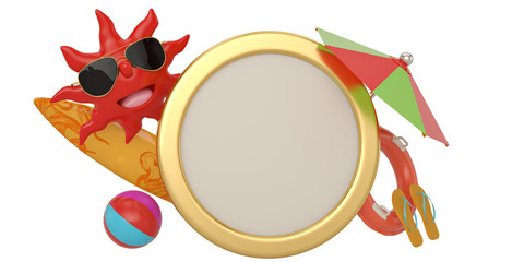 Golden frame with beach accessories isolated on white background 3D illustration.