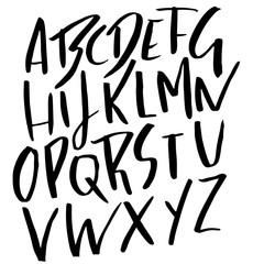 Hand drawn modern dry brush lettering. Grunge style alphabet. Handwritten font. Vector illustration.