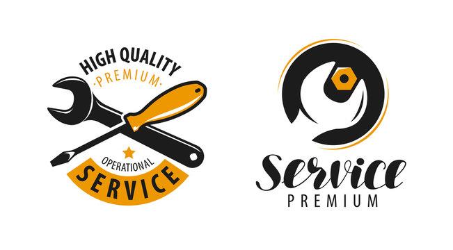 Service logo. Repair, maintenance work label or symbol. Vector illustration
