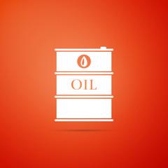 Barrel oil icon isolated on orange background. Flat design. Vector Illustration