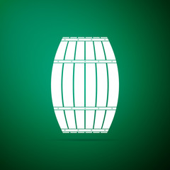 Wooden barrel icon isolated on green background. Alcohol barrel, drink container, wooden keg for beer, whiskey, wine. Flat design. Vector Illustration