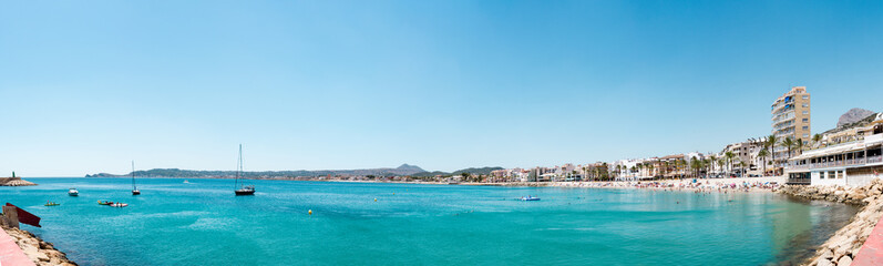 Panoramic videw of the beach and port of Xabia and the mediterranean sea, Alicante province, Spain.