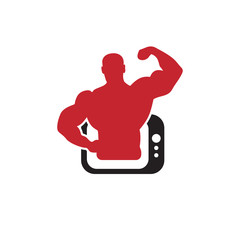 Television fitness logo icon vector template