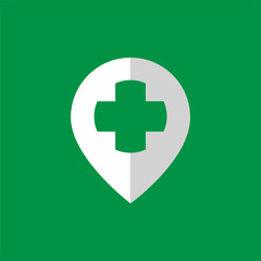 pin location with medical cross logo icon vector